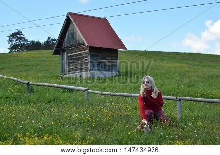 Woman, Doggy And Cottage