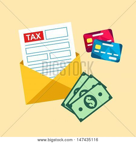 Tax paying illustration. Tax form by mail. Annual income calculation.