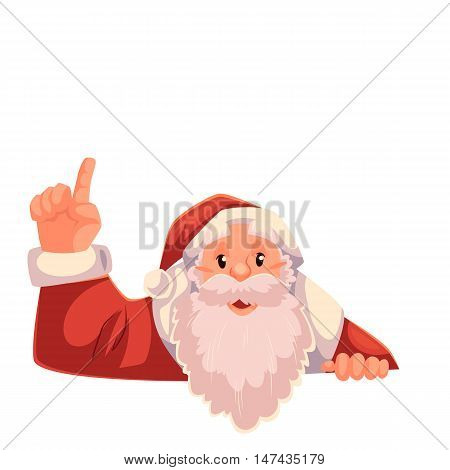 Santa Claus pointing up to a text above, cartoon style vector illustration on white background. Half length portrait of Santa drawing attention to text above and pointing up