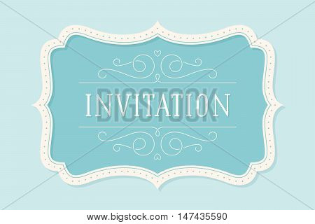 Old vintage frame with text Invitation. Greeting card with old classic frame. Antique and baroque colorful frame with inscription invitation on color background. Vector Illustration