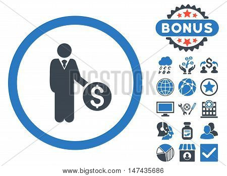 Banker icon with bonus elements. Vector illustration style is flat iconic bicolor symbols, smooth blue colors, white background.