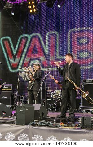 St. Petersburg, Russia - 12 August, Two musicians with trumpets,12 August, 2016. Pop and rock musicians on Harley Davidson festival in St. Petersburg.