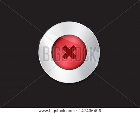 no button. 3d. silver elements with glass surface. red. stop. cancel