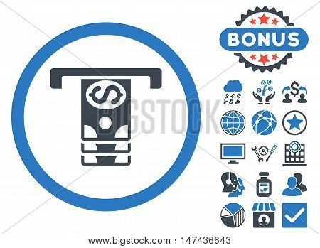 Banknotes Withdraw icon with bonus pictures. Vector illustration style is flat iconic bicolor symbols, smooth blue colors, white background.