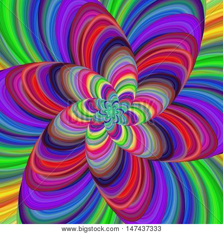 Multicolored abstract fractal flower spiral design background vector