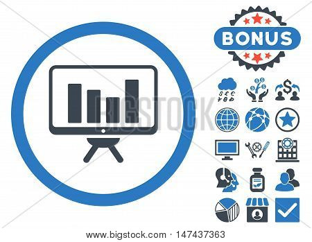 Bar Chart Monitoring icon with bonus pictogram. Vector illustration style is flat iconic bicolor symbols, smooth blue colors, white background.