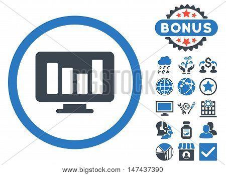 Bar Chart Monitoring icon with bonus symbols. Vector illustration style is flat iconic bicolor symbols, smooth blue colors, white background.