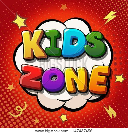 Kids zone banner design. Children playground zone. Children Place label. banner