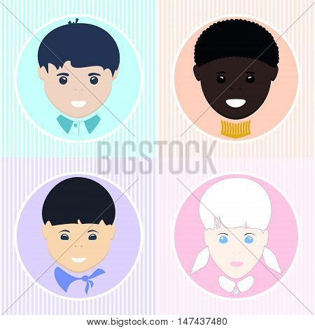 European Boy and Girl, African American and Asian Boy , Pre-school Children of Different Nationalities, Vector Illustration