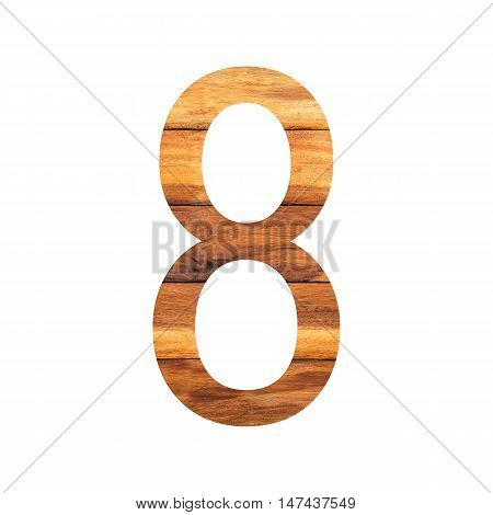 Number 8 ( eight ) with vintage wood texture background.