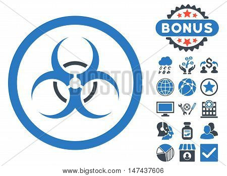 Bio Hazard icon with bonus images. Vector illustration style is flat iconic bicolor symbols, smooth blue colors, white background.