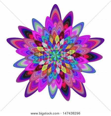 Multicolored computer generated abstract flower fractal design