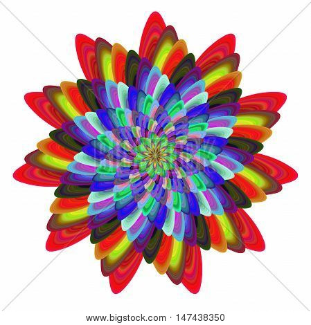 Colorful computer generated spiral fractal flower design