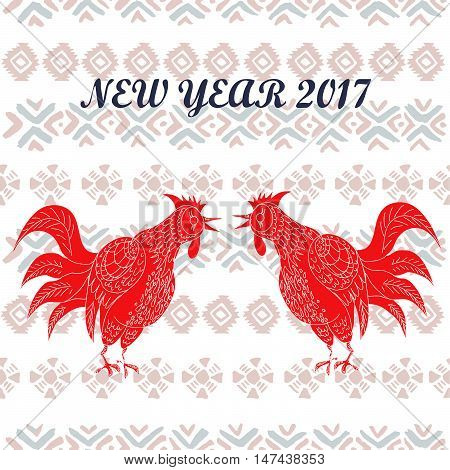 Hand drawn vector illustration of roosters with tribal elements. 2017 is the year of Red Fire Chicken on Chinese zodiac. Can use them for greeting card, calendar, poster, wall paper, wrapping.