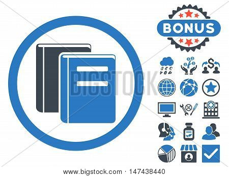 Books icon with bonus elements. Vector illustration style is flat iconic bicolor symbols, smooth blue colors, white background.