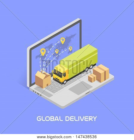 Worldwide delivery concept. Isometric style, vector illustration