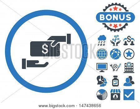 Bribe icon with bonus pictogram. Vector illustration style is flat iconic bicolor symbols, smooth blue colors, white background.