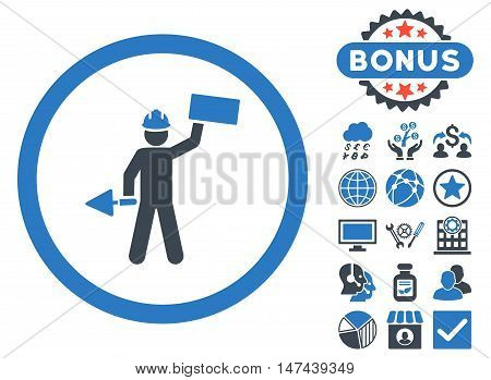 Builder With Shovel icon with bonus design elements. Vector illustration style is flat iconic bicolor symbols, smooth blue colors, white background.