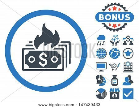 Burn Banknotes icon with bonus design elements. Vector illustration style is flat iconic bicolor symbols, smooth blue colors, white background.