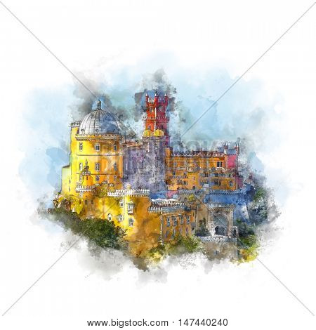 Watercolor artwork - National Palace of  Pena and blue sky - Famous Landmark in Sintra, Lisboa, Portugal, Europe