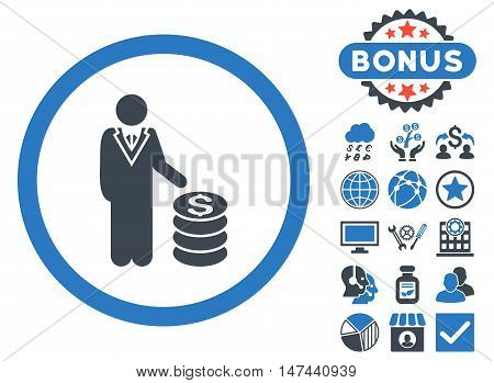 Businessman icon with bonus images. Vector illustration style is flat iconic bicolor symbols, smooth blue colors, white background.