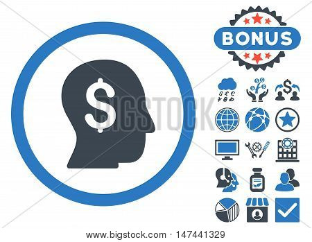 Businessman icon with bonus elements. Vector illustration style is flat iconic bicolor symbols, smooth blue colors, white background.