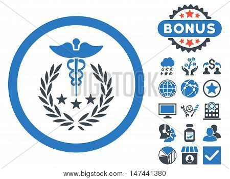 Caduceus Logo icon with bonus symbols. Vector illustration style is flat iconic bicolor symbols, smooth blue colors, white background.