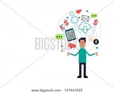 Online Marketing And E-commerce Business Man  Vector Illustration