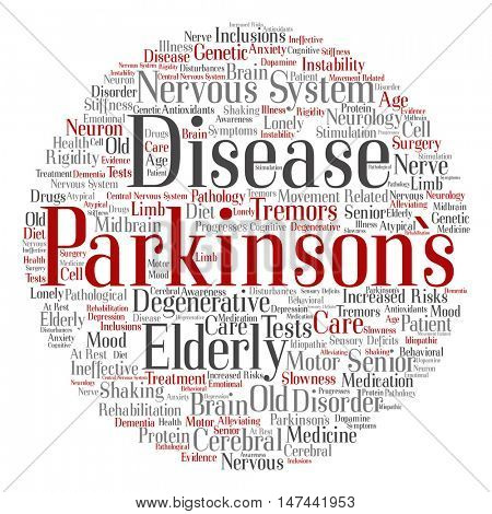 Concept conceptual Parkinson`s disease healthcare nervous system disorder abstract round word cloud isolated on background metaphor to healthcare, illness, degenerative, genetic, symptom brain