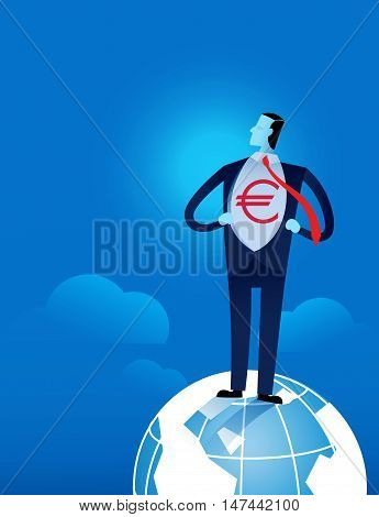 Young Businessman Tearing His Shirt Off With Euro Dollar Sign