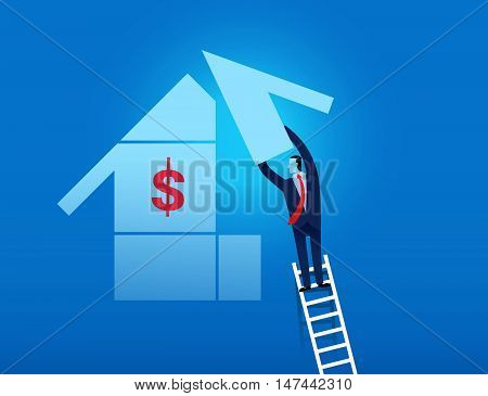 Man Climbing On The Ladder To Complete Business Goal Vector Illustration
