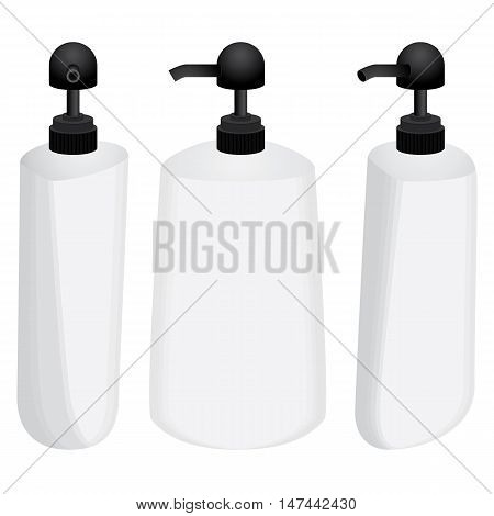 Plastic bottle with black dispenser design set isolated on white background.