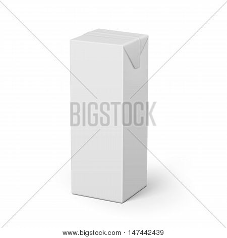 White cardboard brick package for dairy products, juice or beverage. 1 liter. Ready for your design. Packaging collection. Vector illustration.