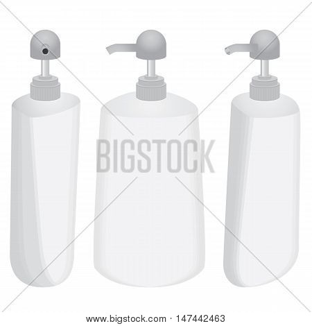 Plastic bottle with dispenser design set isolated on white background.
