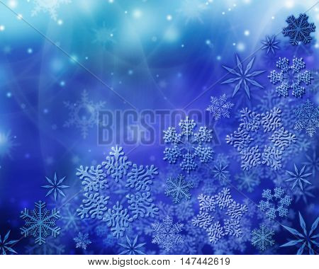 Winter background. White snowflakes and frost. frosty morning,