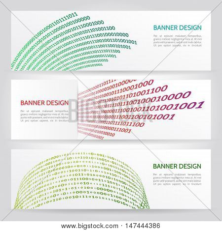 Abstract banners with binary number. Abstract digital Information. Algorithm binary, data code,