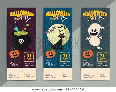 Happy Halloween party flyer template design. All hallow eve poster in scary cartoon style. All saint holiday club event admission or entrance ticket layout. Vector illustration