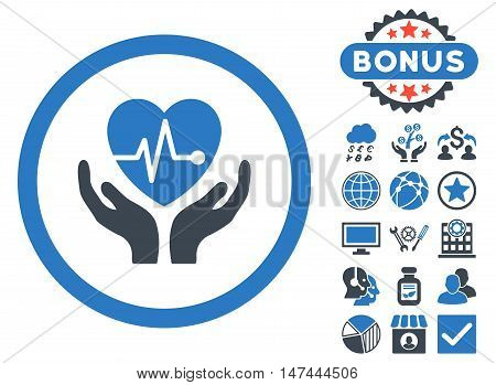 Cardiology icon with bonus elements. Vector illustration style is flat iconic bicolor symbols, smooth blue colors, white background.