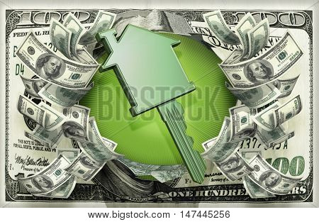 House Key With Money 3D Illustration