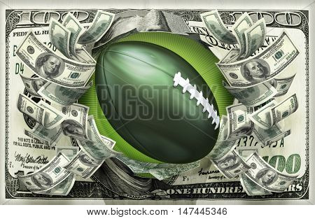 Football With Money 3D Illustration