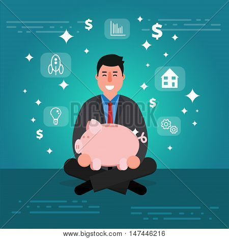 Successful young businessman or broker meditating or relaxing with his legs crossed and holding piggy bank. Cartoon vector illustration of manager or boss as concept of financial success. Smiling entrepreneur image