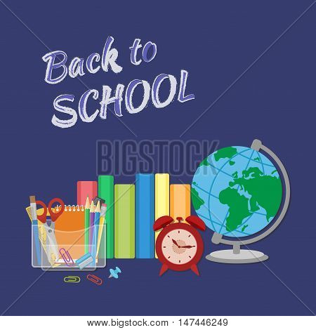 School supplies with inscription in chalk Back to school. Books, textbooks, exercise books, organizer with Stationery, globe, alarm clock. Flat Style Education Concept. Vector illustration.