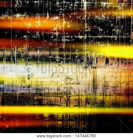 Abstract vintage background with faded grungy texture. Aged backdrop with different color patterns: yellow (beige); brown; red (orange); black; white; pink