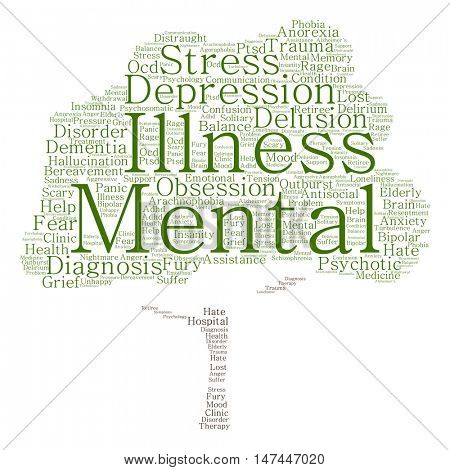 Concept conceptual depression or mental emotional disorder tree word cloud isolated on background metaphor to anxiety, sadness, negative, sad, problem, despair, unhappy, frustration symptom