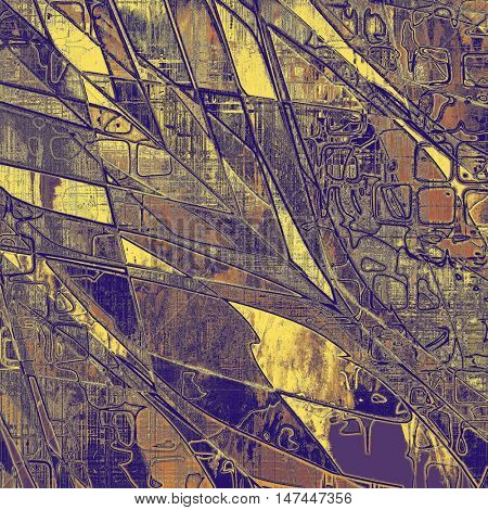 Geometric tinted vintage texture, aged decorative grunge background with traditional antique elements and different color patterns: yellow (beige); brown; gray; red (orange); purple (violet)