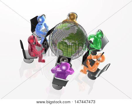 Communication - globe color mans and notebooks on white background, 3D illustration.