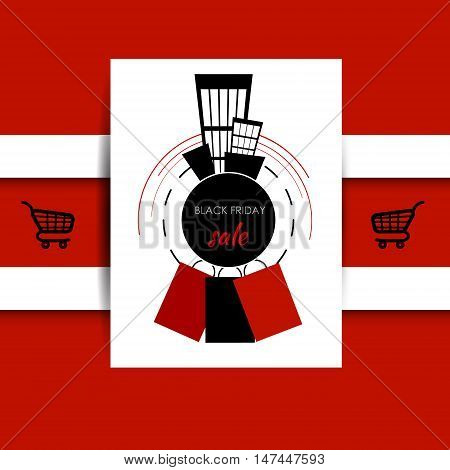 Sale banner with sticker on the red background. Vector illustration. Black friday sale