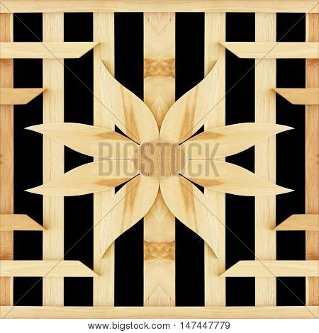 texture of slat flower wall isolated on black background