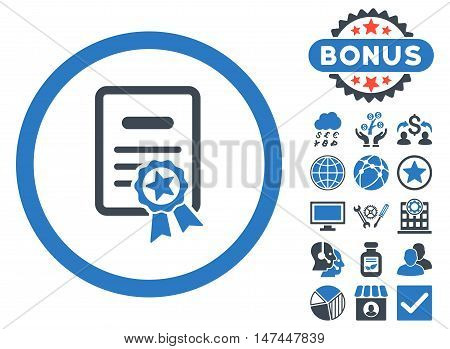 Certified Diploma icon with bonus design elements. Vector illustration style is flat iconic bicolor symbols, smooth blue colors, white background.