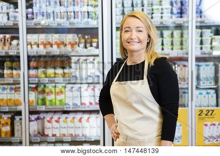 Saleswoman With Hand On Hip Against Refrigerator
